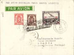 (Belgium) LAPE, Spanish Postal Airlines (Lםneas Aיreas Postales Espaסolas), the Spanish national airline during the Second Spanish Republic, interrupted F/F Brussels-Madrid-Lisbon, via Paris Avion 21/4, plain cover franked 1F 35c, green/white airmail etiquette.. The plane was damaged in an accident between Madrid and Lisbon, and some of the mail does not have a Lisbon arrival ds. See Godinas, 1969, p64.