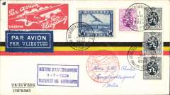 """(Belgium) Antwerp Meeting, special flight Antwerp to Berlin, b/s, also red dr C2 receiver on front, special cachet, franked 55c canc aerodrome pm, company cover with imprinted red/whit """"Trimotor"""" etiquette."""