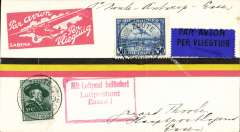 "(Belgium) Sabena F/F Zaute to Essen, a scarce intermediate stage on the route to Cologne, Sabena cover franked 85c, canc Zoute cds, nice strike red framed arrival cachet, ""Mit Lufpost befordert/Luftpostamt/Essen 1"", dark blue/black airmail etiquette."