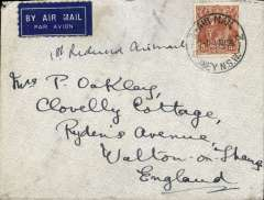 """(Australia) First """"All Up"""" Flying Boat Service, flown Sydney to England, no arrival ds, non philatelic cover franked 5d, flap neatly removed. Service suspended 3 weeks later."""