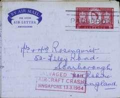 "(Recovered Interrupted Mail) BOAC, Lockheed Constellation crash at Singapore, en route from SS 'Orcades', 'nearing' Freemantle, Australia to England, imprint etiquette airmail cover, franked 6d, 'Paquebot' cancel, nice strike red framed ""Salvaged Mail/Aircraft Crash/Singapore 13.3.1954"" cachet, Ni 540313a."