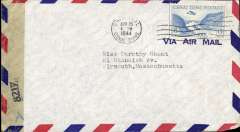 (Canal Zone) Censored airmail Cristobal to Plymouth, Mass, franked 15c, sealed EB 8217 (New York) censor tape. Uncommon.