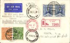 """(Australia) Attempted acceptance of mail from Adelaide for carriage on F/F Kalgoorie to Wiluna,  registered (label) cover franked 7 1/2d, canc Adelaide 26 Jul 30, bs Kalgoorie 28 Jul 30, typed """"By Air Mail from/Adelaide to Kalgoorie/thence/By First Air Mail only/Kalgoorie to Wiluna"""", ms 'No service to Date', so returned from Kalgoorie 15 Oct 30 to Adelaide, fine strike Adelaide Dead Letter Office Oct 21 30. Great routing shows difficulties establishing postal service in remote area."""