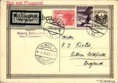 (Austria) First daily service, Vienna to London, no arrival ds attractive 10G PSC with additional 5G an 30G addressed to Francis Field, England, red 'Nur Mit Flugpost' hs, black/pale green airmail etiquette, Vienna/Flugpost 3/6 transit cds. Francis Field authentication hs on front.