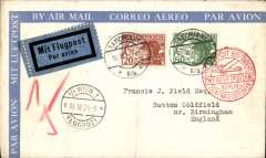 (Austria) Vienna to London, via Berlin 19/6, attractive blue/cream airmail envelope franked 20g & 80g, canc - TA 117 Vienna 18/6 and tied by fine strike red Berlin/Zentralflughafen arrival hs, and Telegraphenamt Wien 18/6 verso.