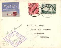(Tasmania) Hart Aircraft Services Pty Ltd, F/F Whitemark to Melbourne, plain cover addressed to Vacuum Oil Co, franked 5d, canc Whitemark cdfs, violet diamond  'First Flight/Melbuorne Flinders Is' (Melbourne misspelt,  attractive airmail etiquette, signed by both pilots AJ Turner and AA Barlow.