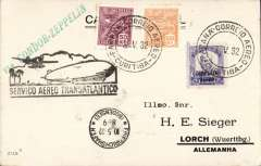 "(Airship) Brazilian dispatch, return 4th SAF, Fried 10/5 arrival ds on front, franked 3650r inc 3500 zep opt canc Curitabia cds, black flight cachet, also green ""Via Condor Zeppelin hs"", plain card addressed to H. Sieger, Lorch. Si 158A"
