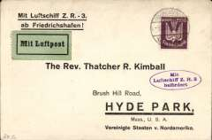"(Airship) Printed souvenir cover addressed to Hyde Park, Mass, inscr ""Mit Luftschiff ZR 3 AB Frieiederichstafen"", and fr 100pf, canc Friederichstafen, violet oval ""Mit Luftschiff ZR 3 Befordert"" cachet, Bk on green etiq, no b/s.  Flown on delivery flight of ZR 3 to the United States,"