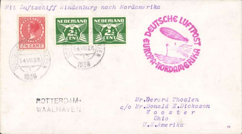 """(Airship) Netherlands acceptance for the Seventh """"Hindenburg"""" Flight to New York,  posted in Netherlands with 12 1/2c  stampsl, red double ring cachet depicting flying boat and Zeppelin, plain cover, black 'Rotterdam/Waalhaven' hs.."""