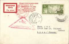 (Polar exploration) Polar Expeditions: Arctic, 1932 Second Polar Expedition card to Paris, bs 1/9, via Berlin 31/8, Sieger cover  franked green Russia Express 1r cancelled Aug. 26 , red triangular cachet and Archangel and Berlin transits, see scan.