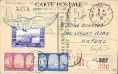 (Algeria) CGA first direct flight Alger to Paris, 20/4 arrival ds on front, special 'Exposition Philatelique' souvenir PPC, Exposition vignette tied by blue winged flight cachet, 'Aerogram officiel de L'Epian' hs, attractive item.