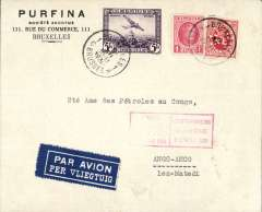 (Belgium) Fabry and Vanderlinden interrupted flight, Brussels to Matadi, bs 19/12, via Leopoldville,bs15/12 . The flight was interrupted near Alicante for repairs, Ni 301208. Purfina corner cover franked Belgium 5F Air+1F45 ordinary, red flight cachet.