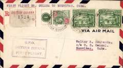 (British Guiana) Pan Am F/F British Guiana to Nuevitas, Cuba, bs 108/12, registered (label) airmail cover franked 62c, violet framed F/F cachet.