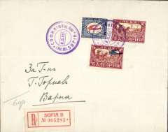 (Bulgaria) Compagnie Bulgare d'Etat, F/F Sofia to Varna, bs 8/11, registered (label) cover franked14l.