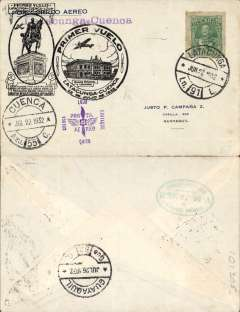 (Ecuador) Internal military flight, F/F Lacatunga to Cuenca, arrival ds on front, black circular flight cachet, attractive printed souvenir cover. Then flown on to Guayaquil 26/7.