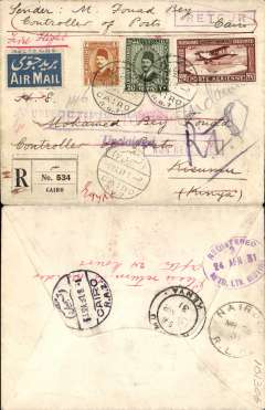 (Egypt) Imperial Airways F/F Cairo to Kisumu, bs 10/3, flown on inaugural England-East Africa service, registered (label) cover franked 27ml air & 21ml ordinary. Sent by the Controller of Posts in plain envelope so possibly a test cover, also violet 'Undelivered for Reasons Stated.', 'Unclaimed', and 'Retour' hs's.  Returned by surface. Interesting and unusual.
