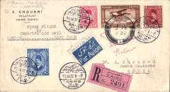 (Egypt) Imperial Airways F/F Cairo to Mbeya, 3 Feb 1932 arrival ds on front, flown on inaugural England-South Africa service, registered (label) cover franked 27ml air & 13ml ordinary.  Returned by surface via Dar Es Salaam 7/2 and Port Taufiq 4/3.