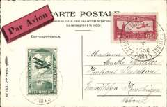 (France) Paris International Expo, special card addressed to Switzerland, franked French red 1F50 air and green special Expo vignette, both canc special Expo postmark, red/black airmail etiquette,