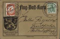 """(Germany) Rhine and Main Air Mail Week, special orange card franked 5pfg and  20pfg brown red special flight stamp tied by  special Darmstadt arrival postmark. Flown during """"postcard week"""" to promote the Grand Duke and Duchess of Hessen's concern for mother and infant care, see Kronstein pp141,142. Cat Michel 100 Euros."""