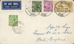 (Burma) F/F Akyab to London, Leigh on Sea 11/10 arrival ds on front, carried on first return of extension of India service to Rangoon, plain Capt. Smye cover franked 8 1/2 annas, Imperial Airways.