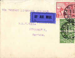 (Ireland) First experimental service, Belfast to Liverpool, franked 2d including British Empire Exhibition 1d, canc 'Belfast/2.15pm/2  My/24' cds, blue/black P25 airmail etiquette. Flown by Alan Cobham.