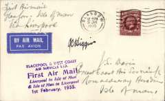 (GB Internal) Blackpool and West Coast Air Services Ltd, Glasgow to Isle of Man, F/F eleventh GB Inland Airmail Service, franked 1 1/2d, official company purple six line flight cachet including '1 Feb 1935' arrival ds which was applied to covers flown to the island,  Signed by pilot, JC Higgins.