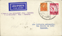 (Hungary) F/F Budapest-Vienna-Venice, bs 2/4, pl;ain cover franked 22f, canc special flight postmark, violet two line flight cachet, royal blue/white  etiquette rated scarce by Mair.