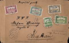 (Hungary) Military Air Service, Budapest--Warsaw, bs, via Vienna 10/7, plain buff cover franked Repulo Posta 1K50f/75f and 4K50f/2kr and 1Kr and 5f ordinary, canc Budapest cds, royal blue/white  etiquette rated scarce by Mair. Flown covers are scarce as service suspended on 23 July following a series of accidents. See Field p293. Non invasive Lh edge and corner nibbles.