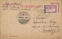 (Hungary) Early internal airmail, third flight Zombathely to Budapest service, bs 9/11, franked special stamp 12k/10k, mail dropped in post bags by parachute.
