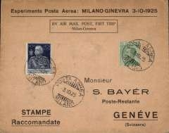 (Italy) Experimental F/F Milan to Geneva, bs 3/10, printed Bayer souvenir cover with imprinted cachet.