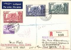 (Liechtenstein) Liechstentein acceptance for Pan Am F/F Southampton to New York, bs 1/7, registered (label) airmail etiquette cover franked 1934 air 10r and 1939 Homage set of 3, canc Vaduz cds. A rare item in fine condition.