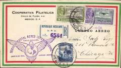 (Mexico) F/F Mexico City to USA, bs Chicago 2/6, registered (label) red/green/cream cover franked 40c, violet flight cachet. Attractive item..