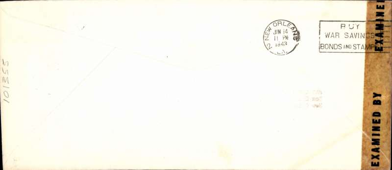 (Mexico) Pan Am F/F FAM 5, Merida to New Orleans, bs 14/6 'Buy War Savings Stamps and Bonds machine cancel,  Compania Mexicana de Aviacion, SA corner cover, franked 20c, canc Merida cds, sealed US (New York, Philatelic) censor tape tying red/white/blue PAA airmail etiquette. An uncommon cover with an uncommon censor seal