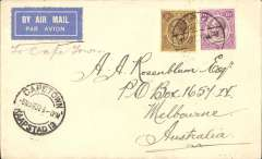 (Nyasaland) Early Nyasland airmail cover addressed to Australia, no arrival ds, carried by rail from Limbe - Blantyre (Nyasaland)-Biera (Portuguese East Africa)-Salisbury (S.Rhodesia), then flown by air to Cape Town, 6/3 arrival ds on front, on the Imperial Airways London-CapeTown extension which opened in January 1932. Airmail etiquette cover franked 9d Nyasaland stamps canc Limbe/28 Feb 32/TPO.