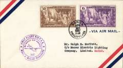 (Philippines) Trans Pacific 'Hong Kong Clipper' F/F FAM 14, Manila to Macau, bs  28/4, violet flight cachet, airmail cover franked 56c.
