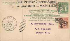"(Philippines) Madrid to Manila flight, PS card to Manila franked with Aeroplane cancellation, Aparri duplex of May 13 below, on reverse black ""Raid Madrid-Mainila"" and ""Madrid to Manila Accomplished by Spanish Aviators"" cachets.by Spanish Aviators, Aparri to Manila, special depart and flight cachets on front, special arrival cachets verso, 4c PSC with additional 12c canc small aeroplane hs."