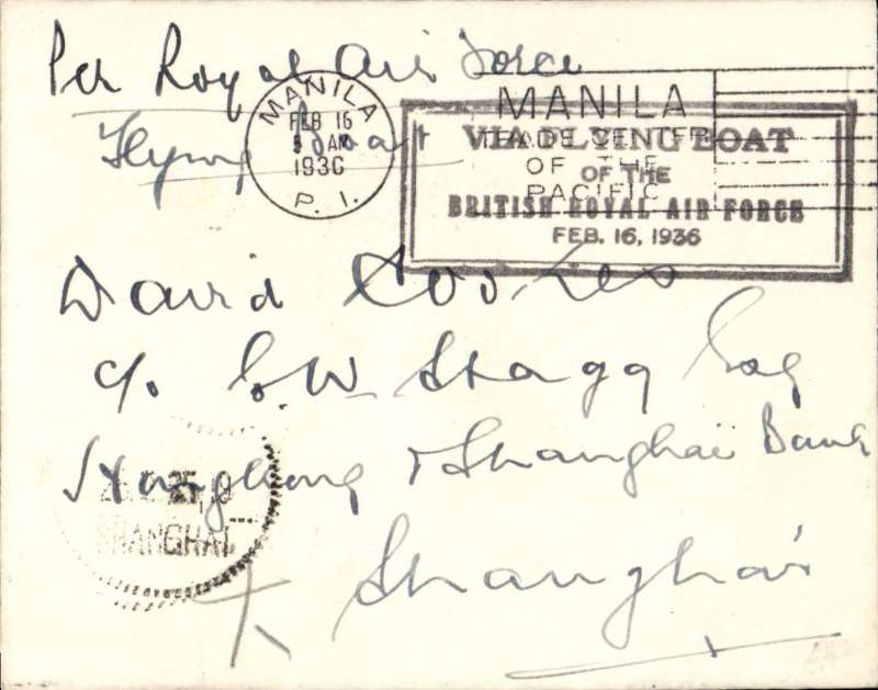 (Philippines) RAF Flying Boat, Manila to Shanghai, plain cover franked 16c, black framed F/F cachet, arrival ds on front..