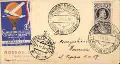 (Poland) Gordon Bennett balloon, Szczuczyn Bialostocki to Warsaw, cover franked 1gr canc special postmark, attractive blue/orange/white Aero Club vignette.