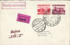 (Poland) Karajowe- Wolnych-Balonowie balloon flight, plain  cover franked 75gr, black/magenta 'Expres' label.