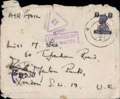"(Recovered Interrupted Mail) Military airmail from service personel, posted from India to England, franked KGVI 8 annas, canc APO Box dated 25 Oct 44, purple Unit Censor/B 536, violet '17 in triangle' India military 'Field Censor' mark and violet rectangular framed ""Damaged By/Sea Water"" hs. See Military Mail India-GB accident, Sept 1944, Nierinck #440900"