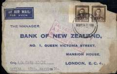 "(Recovered Interrupted Mail) BOAC Lockheed Constellation crash at Singapore, en route from New Zealand to England, imprint etiquette airmail cover, franked 1/6d, canc Hawera 10 Mr 54 cds, fine red boxed ""Salvaged Mail/Aircraft Crash/Singapore 13.3.1954"" cachet, Ni 540313aa. Significant charring verso."