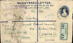 "(Recovered Interrupted Mail) Imperial Airways ""Courtier"" Short S23 flying boat, 1 Oct 1937 crash in Phleron Bay, Greece, 3 1/2 annas Registered Postal Stationary envelope with scarce green/black ""V.P./Park Town"" registration label, sent from Madras to The General Medical Council, London, violet framed ""Damaged By Sea Water"" cachet on front, Ni and Sanford 371001d. Bears a Park Town/29 Aug ?? cds. Also various ms ""FI 27136/Reissued"" and ""Acknowledgement Due/Air Mail"". However residues of violet ink below the cachet suggest it might be NI and Sanford 371205L from the 5 Dec 1937 Cygnus crash and the ms ""FI 27136/Re-issued"" might be the reason for the date of the postmark and the actual date of dispatch. Both crashes were on the Asia-Great Britain route. Interesting."