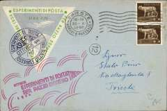 """(Italy) Trieste Zucker rocket, cover franked 2x5c tied Trieste 30.X.34 machinecancel, large green/grey/white 7.70L triangular special stamp canc special cachet, also large red """"Esperimenti de Posta' hs."""