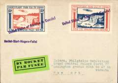 (United States) New York Expo, cover prepared for rocket mail USA to Canada, 2x 50 large orange/blue stamps, tied violet 'United States of America to Canada' hs, green/black 'By Rocket' etiquette. Not flown.