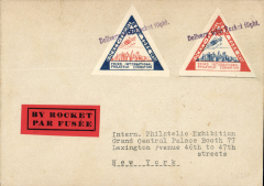 (United States Internal) New York Expo, undated cover prepared for rocket mail,  two triangular 'Rocket Flight New York' stamps  tied violet 'Delivery with Rocket Flight' hs.. Not flown.