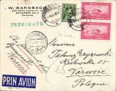 (Romania) LOT, F/F Bucharest to Warsaw, bs3/6 via Prague 2/6, cover franked 12l canc Bucarest Avion cds, large violet triangular F/F cachet verso, white/blue 'Prin Avion' eiquette.