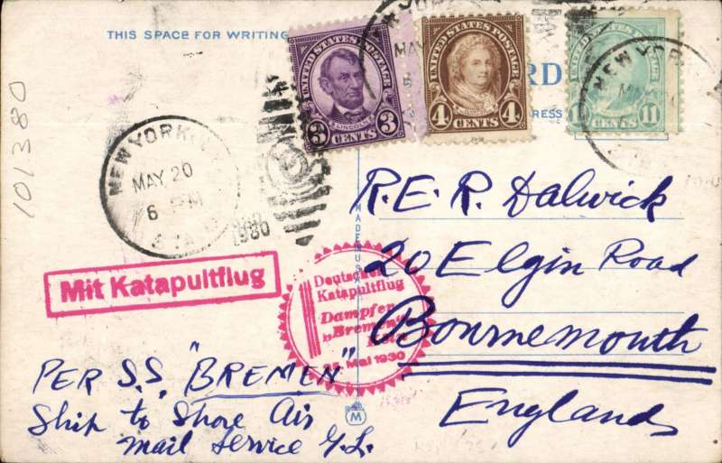 "(Ship to Shore) Airmail PPC flown from SS Bremen into Southampton, showing Hoboken S.S. Piers, Hoboken, New Jersy, franked US 18c canc New York May 20 1930, red circular "" Dampfer Bremen Koln/25.5.1930"" flight cachet and red original boxed catapult hs and red"" ""Mit Luftpost/ befordert/Hamburg-Fuhlsbuttel/Flufplatz""."