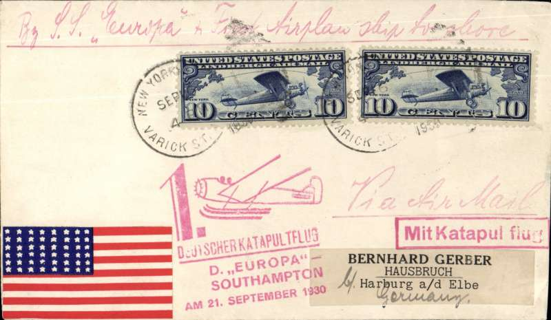 (Ship to Shore) First eastbound catapult flight from Europa, cover franked 2x10c US airs, canc New York Sep 16, 1930, 