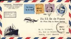 """(Ship to Shore) This US 5c PSE with additional 60c US stamps and corner B&W imprint of 'SS Ile de France' and monoplane in flight and framed 'Resumption of/Catapult Air/Mail Service' imprint , was carried on the third experimental flight of 1929, posted in New York on August 20th and flown from SS """"Ile de France"""" to Paris, bs """"Paris  Gare du Nord/27.VIII.1929""""."""