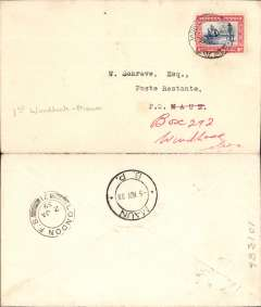 (South West Africa) Kalahari Feeder service, F/F Windhoek to Maun, bs 5/11, plain cover franked SWA 1d canc Windhoek cds. No cachets were applied to this mail.